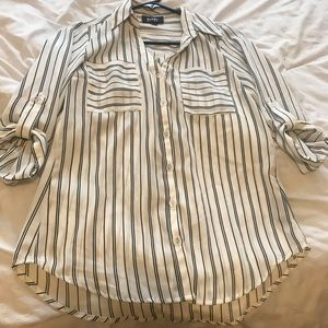Tops - Striped Button Down Blouse
